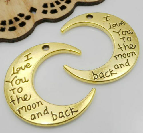 "10//50pcs Silver//Gold /""I LOVE YOU TO THE MOON AND BACK /"" Charms Pendant DIY 30mm"