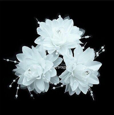 12PCS Wedding Bridal White Flower Crytal Pearl  Hair Pin Hair Accessory Prom A-9