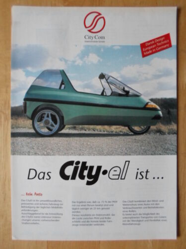 CITY-EL ELETTRICO MICROCAR Trike 1997 tedesco Mkt opuscolo brochure-CITY COM