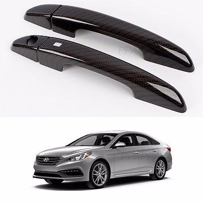 Black Carbon Door Handle Catch Cover Trim Molding For Hyundai LF Sonata 2015+