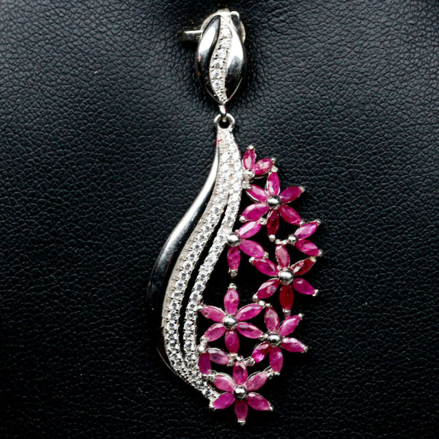 NATURAL PINK RUBY & WHITE CZ STERLING 925 SILVER PENDANT
