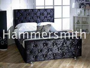 Ordinaire Image Is Loading Diamond Double Crushed Velvet Fabric Upholstered Bed Frame