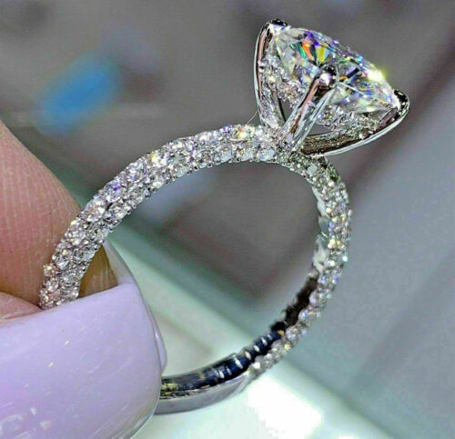 3.00 Ct Round Cut Moissanite Solitaire Engagement Ring 14K White Gold Finish