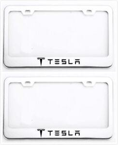 2X Tesla Logo  Head Stainless Steel Black License Plate Frames Covers Caps Screw