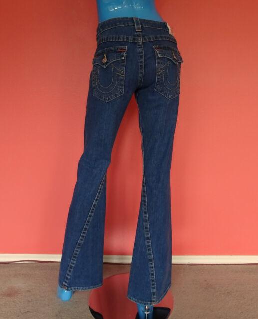 Womens True Religion Joey Flare Jeans Pants 30 M 8 10 Flap Pockets Twisted Seam