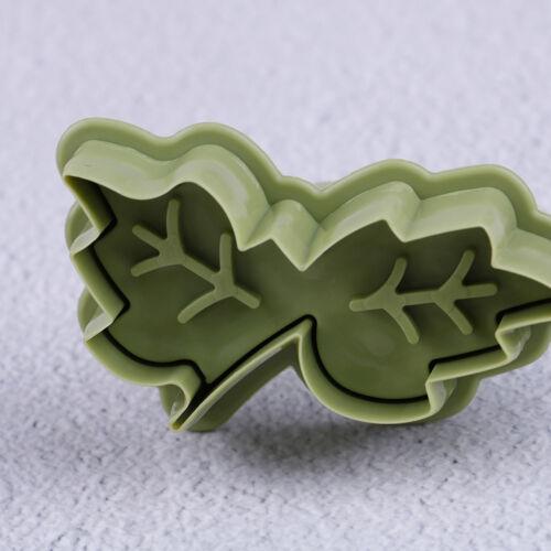 4Pcs//set DIY bake mold leaf shape 3D cookie cutter biscuit molds kitchen tool Gh