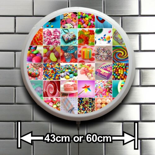 CANDY SWEETS ROUND LED ILLUMINATED SIGN CAFE RESTAURANT SHOP CATERING  LIGHT BOX