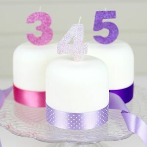 Details About Pink Purple Or Mauve Glitter Birthday Cake Candle Any Number 0 1 2 3 4 5 6 7 8 9