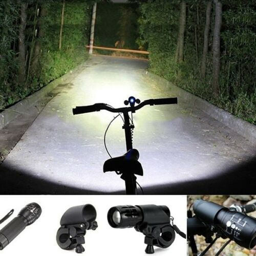 LED Cycling Flashlight Clip Mount Bicycle Front Light with Bracket Fresh Holder