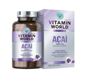 Vitamin World Platinum Acai 4000mg Premium Antioxidant Support 60 Capsules