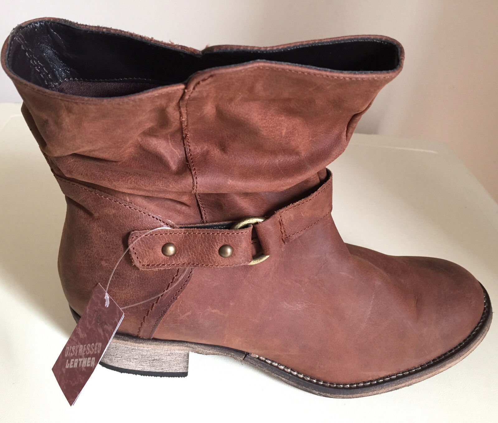 Next Distressed Leather Ankle Boots Size 3.5/ 4/ 6 /7 & 8 Brand New (WIDE FIT)