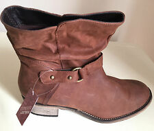 Next Tan Distressed Leather Ankle Boots Size 6  /7 & 8 Brand New  (WIDE FIT)