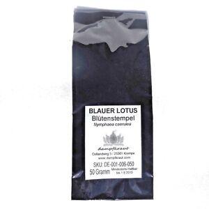 50-Gramm-Blauer-Lotus-Bluetenstempel-Nymphaea-caerulea-schonend-getrocknet