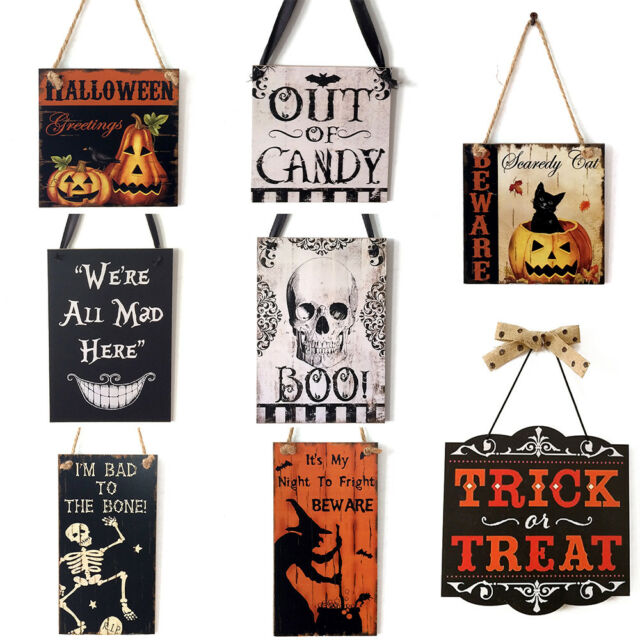 EB59 Halloween Wooden Sign Door Hanger Sorry All Out Of Treats