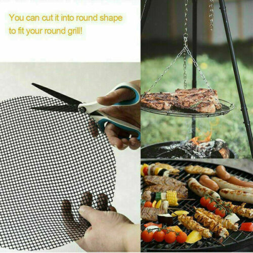 1//5PC BBQ GRILL Mat GAS Baking Tray SHEETS Non Stick Oven Liners REUSEABLE BLACK