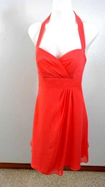 Alfred Angelo Womens Coral Pink Chiffon Formal Dress Size 4 Style