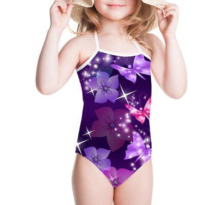 Purple Print Swimsuit Girls Kids Mini Strappy Swimwear Comfy Beach Bathing Suit
