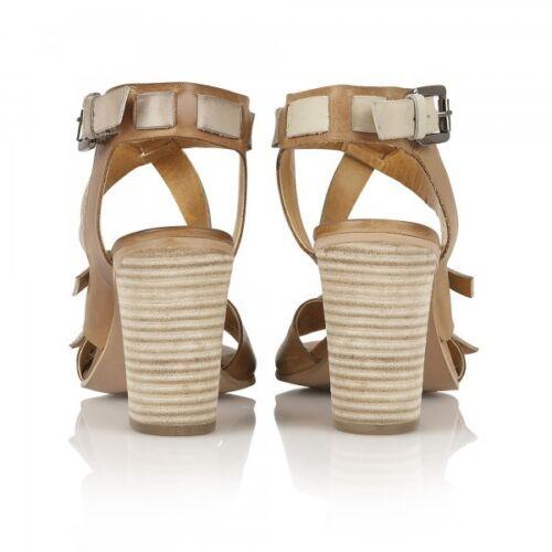 5 Off amp; Tan Leather 6 Uk Bunnell Heel Sandals Ravel White Strappy Women's High Btx6Hf0