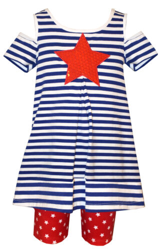 Bonnie Jean Girls Americana 4th of July Cold Shoulder Star Outfit 12M 18M 24M