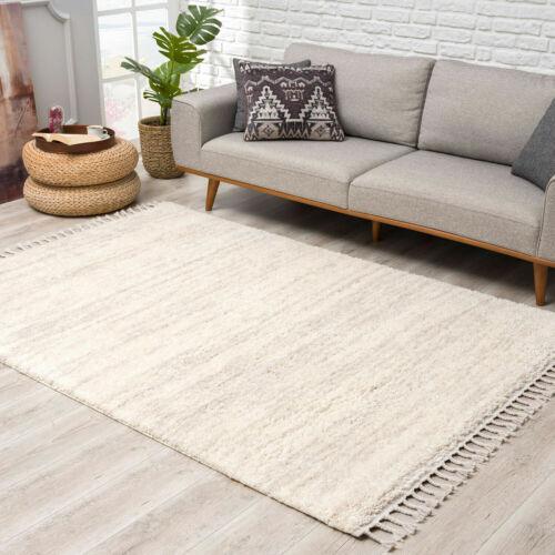 Teppich Hochflor Shaggy Modern super Soft Meliert in Creme Wohnzimmer