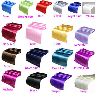 "Satin Table Runner 12"" x 108"" Wedding Decoration Supply Party Decor 18 Colors"