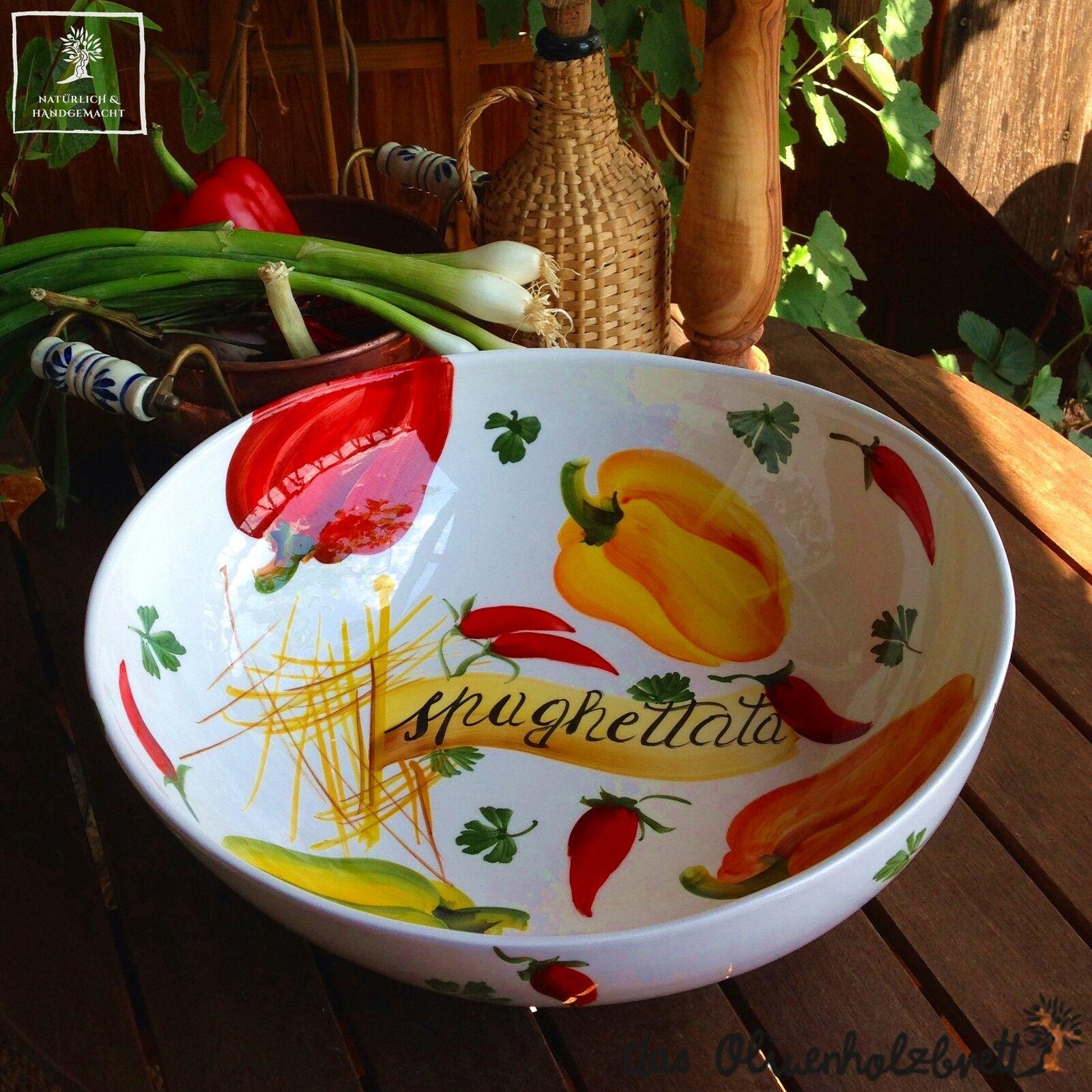 Große handbemalte Keramik Salatschale Salatschüssel    35cm  Schale Schüssel | Bekannt für seine schöne Qualität  ba4850