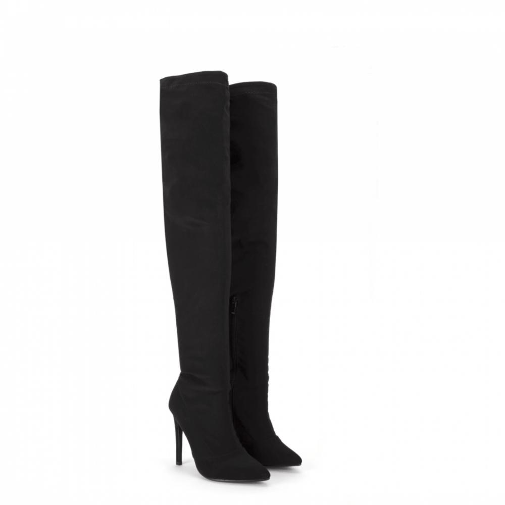 Chaussures Femme Talon Aiguille Bout Pointu au-dessus du genou Cuissardes Noir