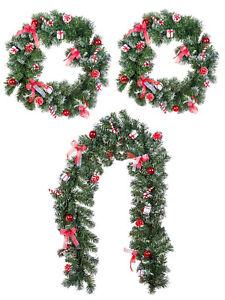Christmas-Candy-Cane-40cm-50cm-Wreath-180cm-Garland-Xmas-Decoration-Wall-Door