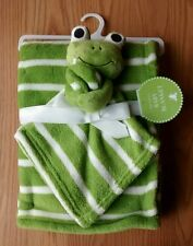 Frog Baby Security Blankets Set Infant Soft Girl Boy Green White S.L. Collection