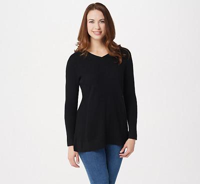Isaac Mizrahi 2-Ply Cashmere Peplum Tunic Sweater Hthr Light Grey L NEW A281354