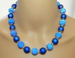 Details zu Kette Halskette Fimo Polymer Perle Spirale blautöne blau dunkelblau weiß 447mm