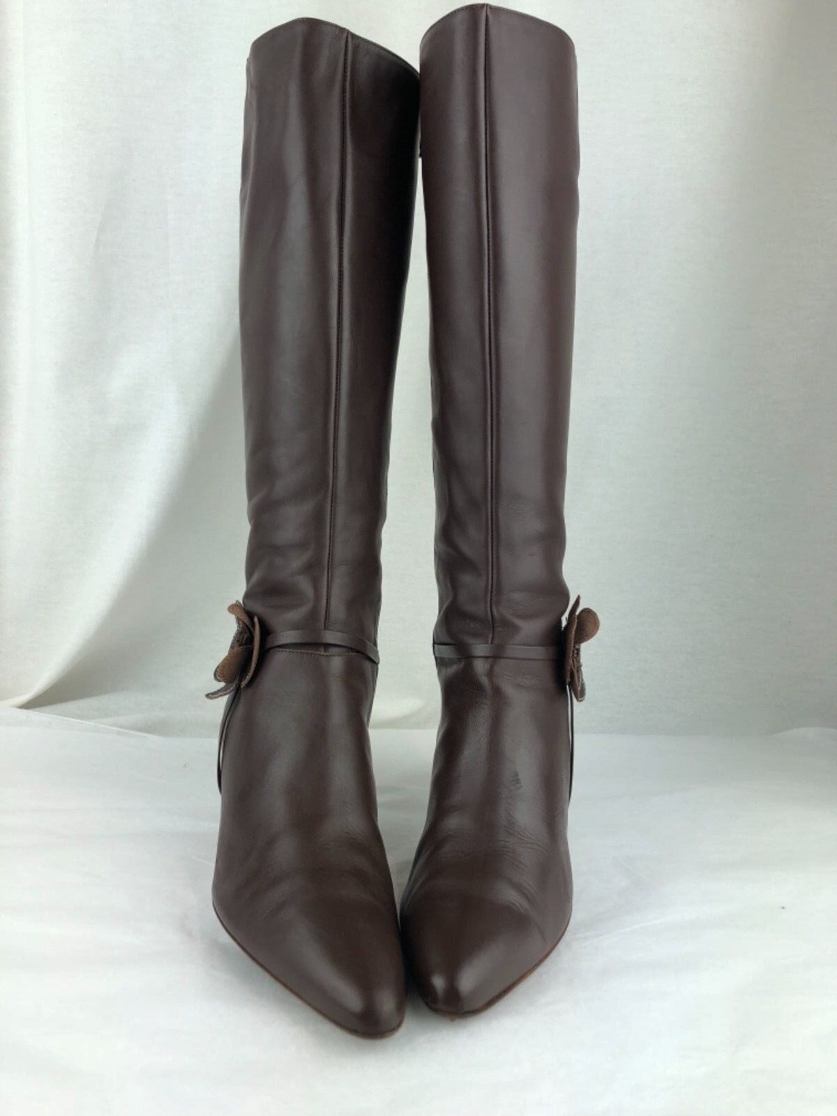 J.Crew Brown Leather Side Zip Flower Knee Boots Women's Size 8 H Style 57240