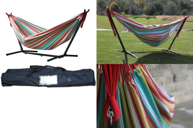 418b786414d VIVERE Double Cotton Salsa Hammock With Stand Multi Colour for sale ...