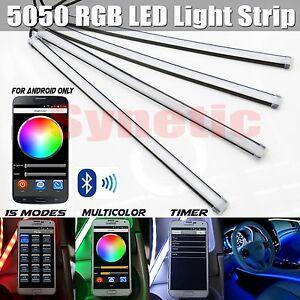 4x 12 rgb multi color 5050 led truck car interior lighting bar bluetooth remote ebay. Black Bedroom Furniture Sets. Home Design Ideas