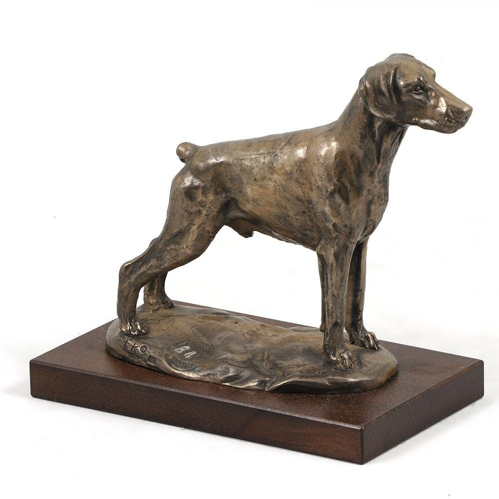 Doberman tipo 2 - busto statua di cane su base di legno, Art Dog IT