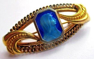 Competent Broche Ancienne Couleur Vieil Or Madone émail Bleu Bijou Vintage Religieux 5116 Matige Prijs