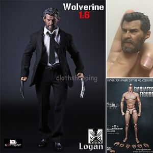 1-6-Scale-Wolverine-Logan-Business-Suit-Clothes-Set-Claws-Figure-Toys-with-Head