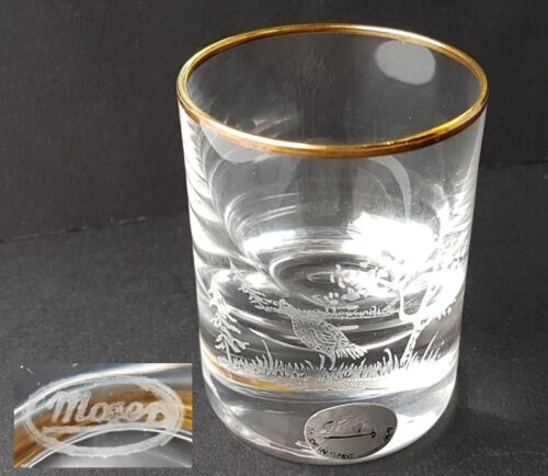 Glas Becher Jagd Motiv handgraviert signiert MOSER um 1950-1970 L265