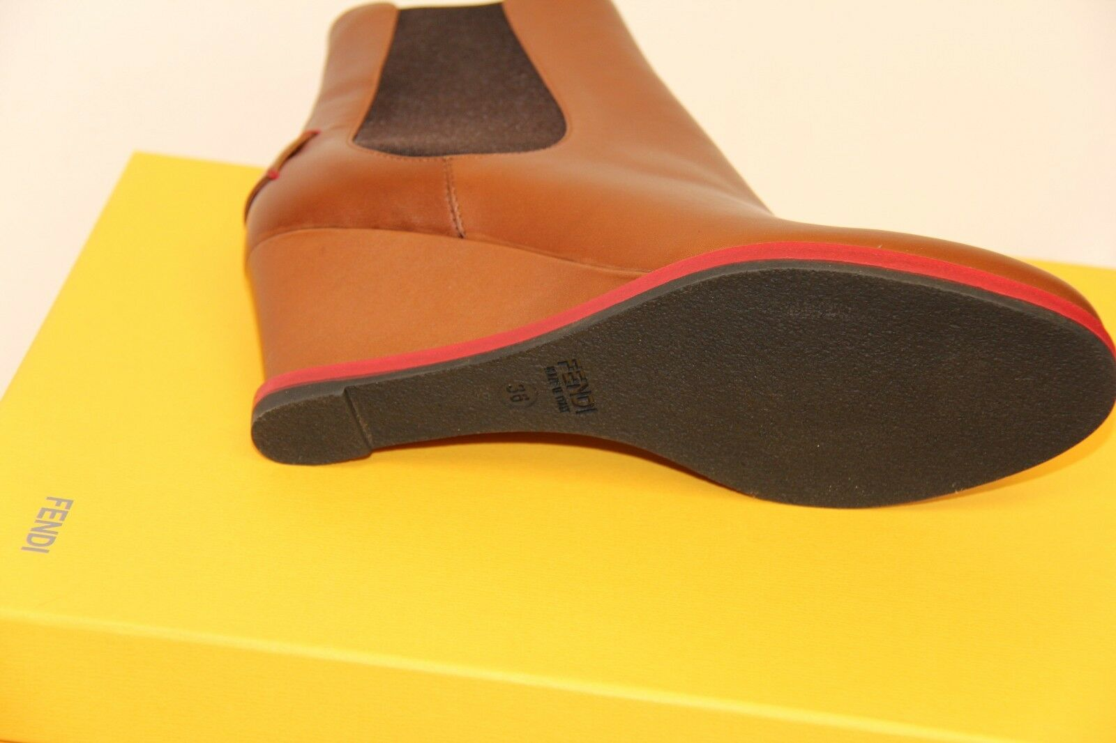 NIB FENDI 8T4116 Tronchetto Cuoio Sz 36.5 6.5 Ankle Ankle Ankle Wedge Leather Brown  765 96fa69