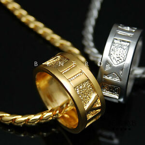 Roman Numeral Ring Pendant Chain Necklace 18k Gold