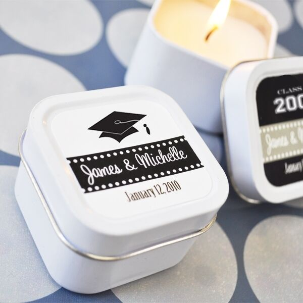 48 Personalized Square Tin Hats Off To You Candles Graduation Favors