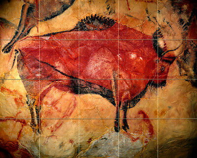 30 x 24 Prehistoric Colorful Art Bison Mural Ceramic Backsplash Bath Tile #2168