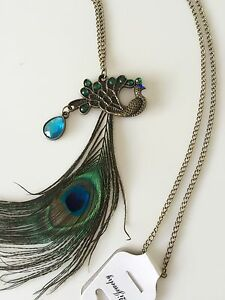 Women-Retro-Metallic-Peacock-Feather-Look-blue-Green-Sweater-Long-chain-Necklace