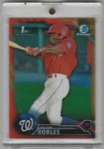 2016-Bowman-Chrome-Victor-Robles-Orange-Refractor-Rookie-Card-RC-16-25-JSY