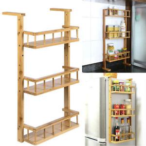 Bamboo-Shelf-Refrigerator-Side-Hanger-Rack-Spice-Holder-Storage-Kitchen-Shelf