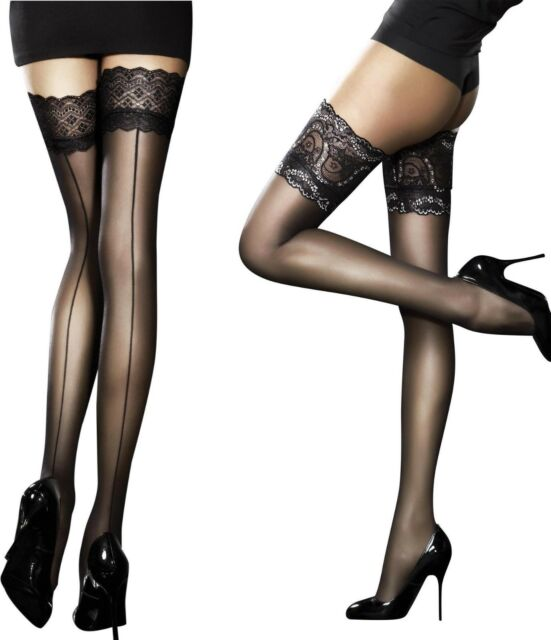 """FiORE /""""NOCTURNE/"""" HOLD UPS STOCKINGS OBSESSION SHEER 20 DENIER S//M//L RED TOPS"""