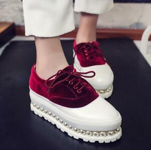Womens-Velvet-Leather-Lace-Up-Beads-Wedge-High-Heel-Shoes-Creepers-Fashion-Pumps