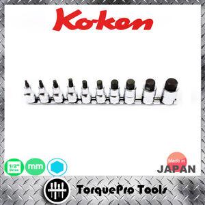 KOKEN RS4010M/10-L50 Metric Inhex Bit Socket Set on Rail