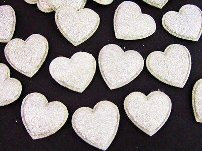 50 Glitter Heart Gold Dust Applique/embellishment/Die Cut Shape/ H418-Silver