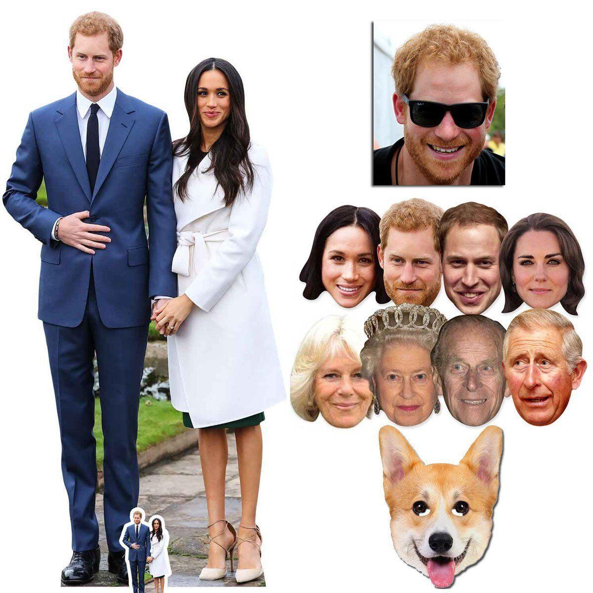 Mariage Royal Prince Harry & Meghan Markle découpe en carton & Masque Argent